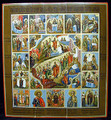 This is a very fine painting with a multitude of figures in rich, vibrant colors. The painting is exemplary of the miniaturization found in both traditional and contemporary Mstiora art. Descriptions of each scene are written in old Cyrillic in the surrounding border.
