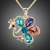 Multicolor Peacock 18K Real Gold Plated Water Drop Stellux Austrian Crystal Necklace
