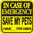 Emergency Save My Pets Yellow Window Sticker