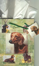 Large Green Gift Bag - Beautiful Doxie Paintings by Ruth Maystead