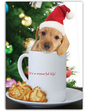 Its A Wienerful Life - Doxie in Mug - 5x7 Christmas Holiday - Box of 10