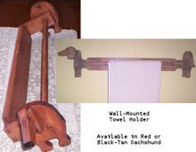 Wooden Dachshund Towel Rack Holder