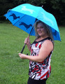 BLUE Dachshund Walking Stick Rain Umbrella w Large Canopy