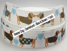 Blue and Brown - 1 inch - Weiner Dog Dachshund Grosgrain Ribbon
