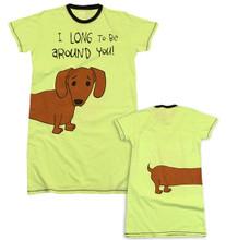 I Long To Be Around You Oversized Nightshirt Wiener Dog Dachshund Lounge Pajama Shirt