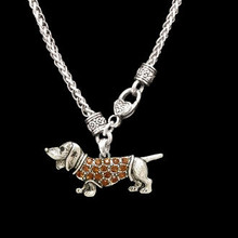 Antiqued Dachshund Heart Clasp Necklace with Crystal Doxie Charm.
