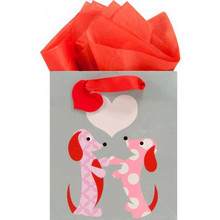 GWC Small Gift Bag - Dachshund Love Gray Bag with Red Heart