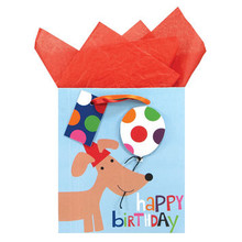 GWC Small Happy Birthday Gift Bag - Dachshund with Balloon