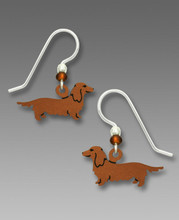 SS Earrings - Long-Haired Red Dachshund.