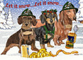 Let it Snow Wiener Wonderland Holiday Christmas Card - Single Card of Multi-Pack