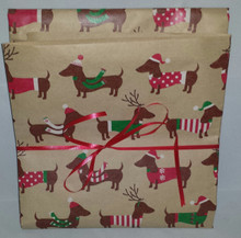 Brown Paper Christmas Doxies Dachshund Gift Wrap Fold