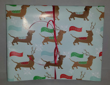 Snowflakes and Rein-Doxies Christmas Dachshund Gift Wrap Fold