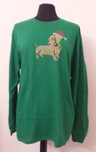 Santa Doxie Green Longsleeve Rhinestone Stud Dachshund Appliqued Shirt