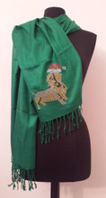 Wrap Pashmina GREEN Santa Doxie Scarf with Dachshund Rhinestone Stud Applique