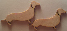 2 Pack Wooden Dachshund Flourishes - for Scrapbooks, Crafts, Cards, Projects