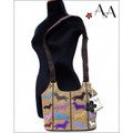 Size View: Khaki Canvas Small Cross Body Applique Dachshund Purse Bag