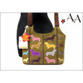 Size View: Green Canvas Small Cross Body Applique Dachshund Purse Bag