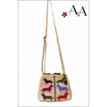 Front Length View: Cream Canvas Charlotte Purse Bag with Applique Dachshund