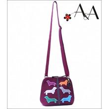 Size View:  Plum Purple Canvas Charlotte Purse Bag w Suede Leather Applique Dachshunds
