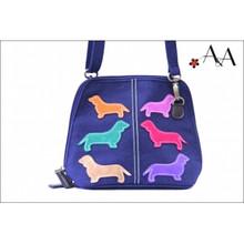 Front Strap View:  Plum Purple Canvas Charlotte Purse Bag w Suede Leather Applique Dachshunds