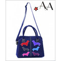 Front View:  Royal Blue Canvas Samantha Handbag Purse w Suede Leather Applique Dachshunds