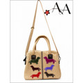 Front View:  Cream Canvas Samantha Handbag Purse w Suede Leather Applique Dachshunds