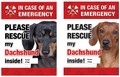 Please Rescue My Dachshund Inside! Emergency Window Sticker