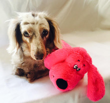 15.5 inch Super Soft Plush PINK Long Dachshund Squeaker Dog Toy