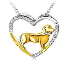 Sterling Silver Open Heart Dachshund Necklace - Gift Box Included