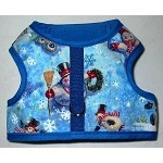 Dachshund Snowman Harness with choice of red or blue trim.