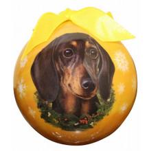 ES Shatterproof Round BLACK TAN Dachshund Christmas Holiday Ornament