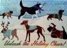Unleash Holiday Cheer Dachshund N Friends Glitter Christmas Card - Box of 12