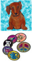PC Red Dachshund Artsy Coaster - Sold Individually