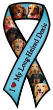 I Love Long-Haired Dachshunds Large Ribbon Magnet
