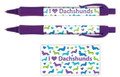 Purple I Love (Heart) Dachshunds Ink Wide Barrel Pen
