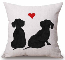 """Dachshund """"Double Outline of Love"""" Throw Pillow Zipper Cover (17"""" x 17"""")"""