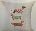 "Three Christmas Doxies Dachshund Throw Pillow Zipper Cover (17"" x 17"")"