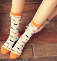 Cream Orange Dachshund Socks with Whimsy Doxies in Sweaters
