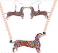 Colorful Bonsny Mosaic Style Acrylic Dachshund Earring and Necklace Set (view)