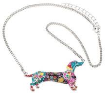 Colorful Bonsny Mosaic Style Dachshund Necklace