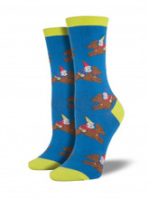 Haute Dog Whimsy Doxie Gnome BLUE YELLOW Dachshund Socks