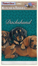 Aqua Green 3 Dachshund Puppies Towels - Single Towel - Adorable!