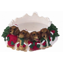 Four Merry Little RED Dachshunds Christmas Holiday Candle Topper Ring