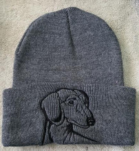 Knit Hat Cap Dachshund Embroidered Head GRAY with BLACK