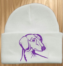 Knit Hat Cap Dachshund Embroidered Head WHITE with PURPLE