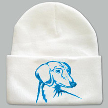 Knit Hat Cap Dachshund Embroidered Head WHITE with AQUA