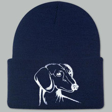 Knit Hat Cap Dachshund Embroidered Head NAVY with WHITE
