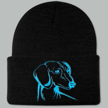Knit Hat Cap Dachshund Embroidered Head BLACK w AQUA