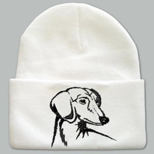 Knit Hat Cap Dachshund Embroidered Head WHITE with BLACK