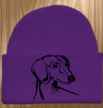 Knit Hat Cap Dachshund Embroidered Head PURPLE with BLACK